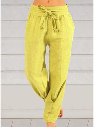 Einfarbig Übergröße Bowknot Lange Lässige Kleidung Einfach Hosen