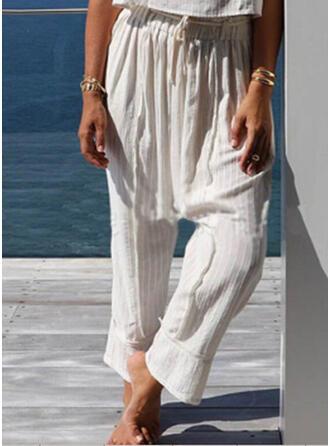 Einfarbig Shirred Übergröße Kordelzug Boho Lässige Kleidung Einfach Lounge Pants