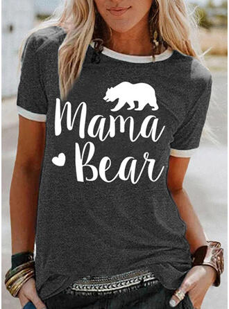 Animal Print Figure Heart Round Neck Short Sleeves T-shirts