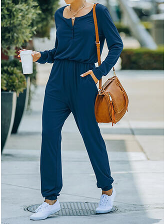 Solid Round Neck Long Sleeves Casual Jumpsuit