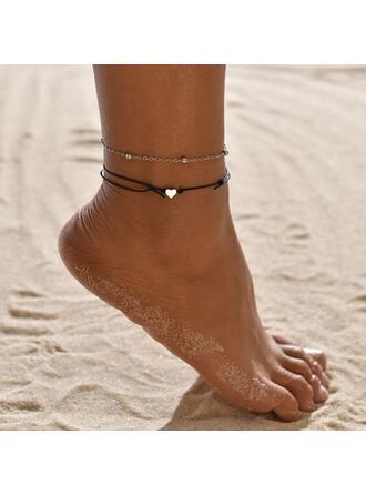 Einfache Legierung Lederseil mit Herz Strandschmuck Fußkettchen (Set von 2)
