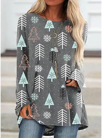 Drucken Rundhals Lange Ärmel Weihnachts-Sweatshirt