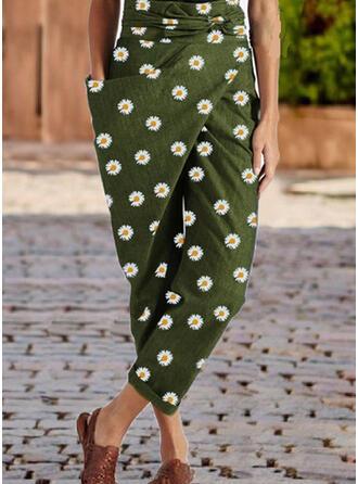 Blumen Geometrisch Übergröße Beschnitten Lässige Kleidung Elegant Hosen