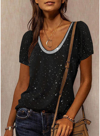 Print Sequins Round Neck Short Sleeves T-shirts