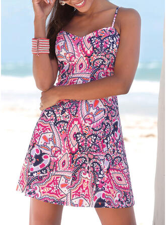 Print/Backless Sleeveless A-line Above Knee Boho/Vacation Slip/Skater Dresses