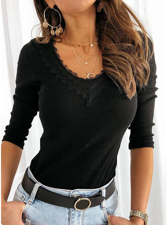 Solid Lace Round Neck Long Sleeves Casual Basic Blouses