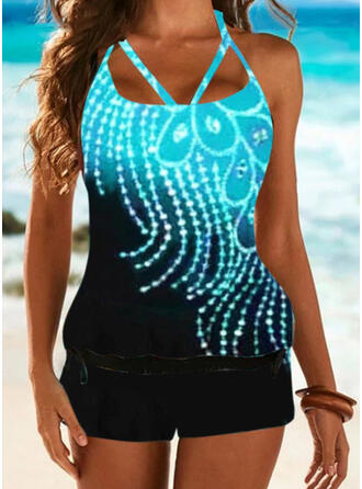 Print Halter U-Neck Plus Size Casual Tankinis Swimsuits