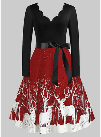 Animal Print Long Sleeves A-line Knee Length Christmas/Party Skater Dresses