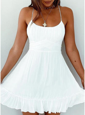 Solid/Backless Sleeveless A-line Above Knee Vacation Slip/Skater Dresses