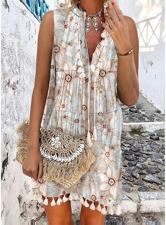 Print/Floral/Tassel Sleeveless Shift Above Knee Casual/Vacation Dresses