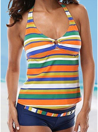 Stripe Colorful Halter U-Neck Fashionable Casual Tankinis Swimsuits