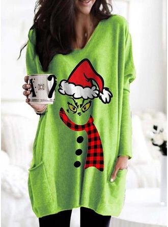 Drucken Gitter V-Ausschnitt Lange Ärmel Weihnachts-Sweatshirt