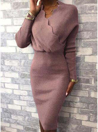 Einfarbig Lange Ärmel Figurbetont Knielang Freizeit/Elegant Pullover Kleider