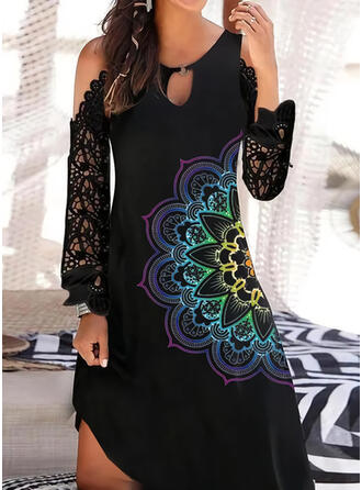 Lace/Print Long Sleeves Shift Above Knee Casual/Vacation Tunic Dresses