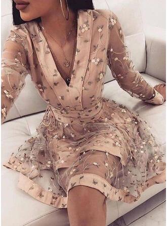 Floral Long Sleeves A-line Above Knee Elegant Skater Dresses