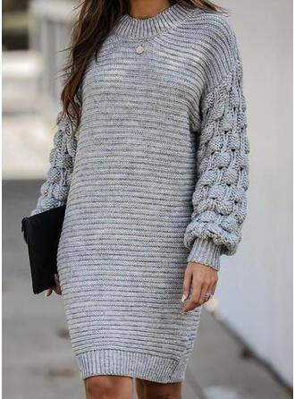 Einfarbig Lange Ärmel Etui Über dem Knie Freizeit Pullover Kleider