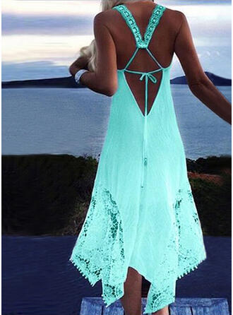 Solid Color Strap Sexy Bohemian Cover-ups Swimsuits