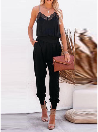 Solid Lace Spaghetti Straps Sleeveless Casual Sexy Jumpsuit