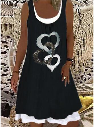 Print/Heart Sleeveless Shift Knee Length Casual Tank Dresses