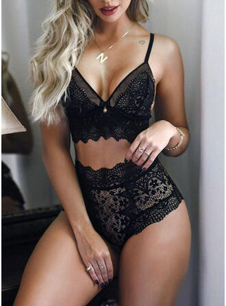 Polyester Spandex Sexy Solid Deep V Lingerie Set