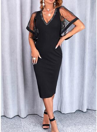 Solid Short Sleeves Flare Sleeve Bodycon Knee Length Little Black/Elegant Pencil Dresses