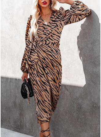 Print Long Sleeves Sheath Wrap Casual Midi Dresses