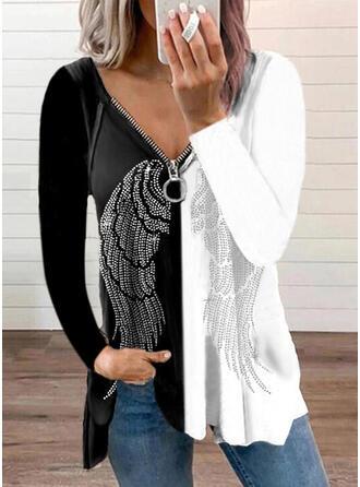 Color Block Print V-Neck Long Sleeves T-shirts
