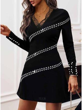 Lace/Sequins/Solid/Beaded Long Sleeves Sheath Above Knee Little Black/Elegant Dresses