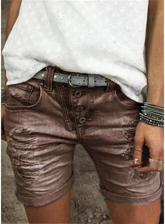 Taschen Shirred Übergröße Über dem Knie Lässige Kleidung Baumwollstoff Kurze Hose