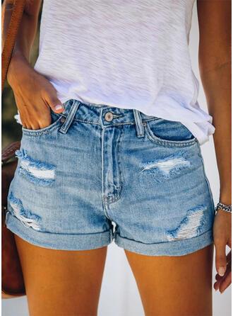 Shirred Ripped Casual Plain Shorts Denim & Jeans