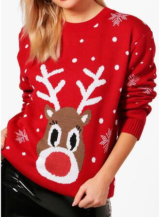 Frauen Polyester Rentier Tupfen Hässlicher Weihnachtsstrickjacke