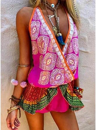 Print Sleeveless Sheath Above Knee Boho/Vacation Dresses