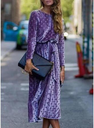 Gepunktet Lange Ärmel Etui Freizeit/Elegant Midi Kleider