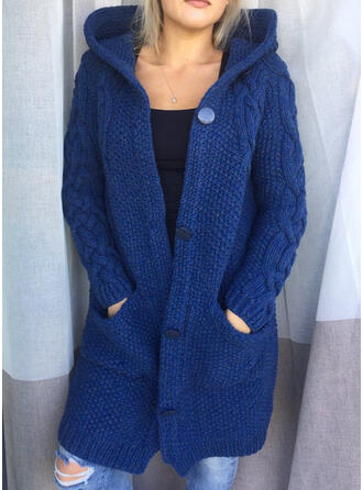 Solid Cable-knit Chunky knit Pocket Hooded Casual Cardigan