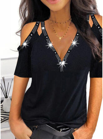 Solid Sequins Cold Shoulder 1/2 Sleeves Cold Shoulder Sleeve Elegant Blouses