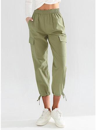 Pockets Drawstring Casual Solid Lounge Pants