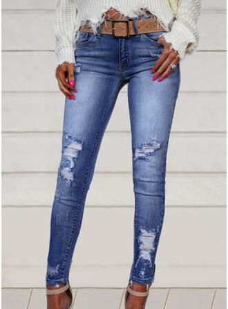 Plus Size Ripped Elegant Sexy Denim & Jeans