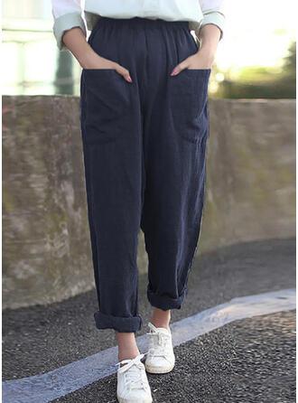 Pockets Plus Size Casual Plain Lounge Pants