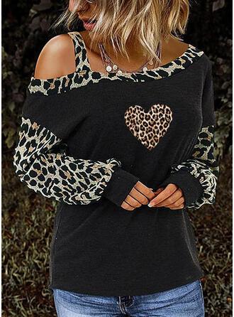 Drucken Leopard Kalte Schulter Lange Ärmel Freizeit Blusen