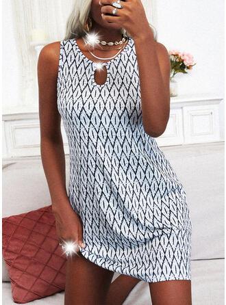 Print Sleeveless Shift Above Knee Casual Dresses