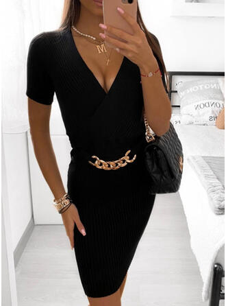 Solid Short Sleeves Bodycon Above Knee Elegant Dresses