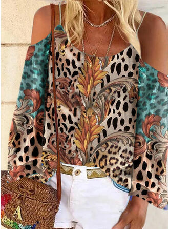 Print Leopard Cold Shoulder Long Sleeves Casual Blouses