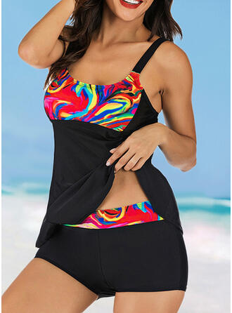 Patchwork Strap U-Neck Attractive Casual Swimdresses Swimsuits
