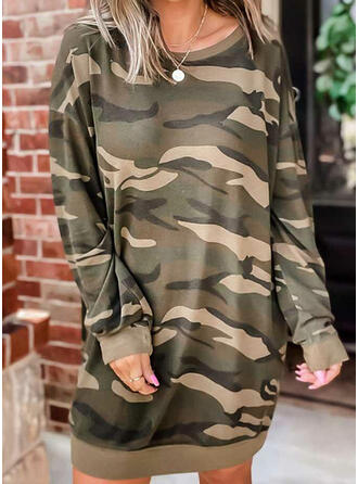 Print/Camouflage Long Sleeves Shift Above Knee Casual Sweatshirt Dresses