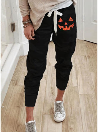 Halloween Print Cropped Casual Sporty Drawstring Pants