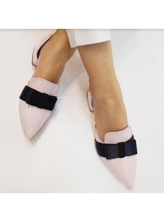 Women's PU Chunky Heel Pumps Pointed Toe With Bowknot Colorblock shoes