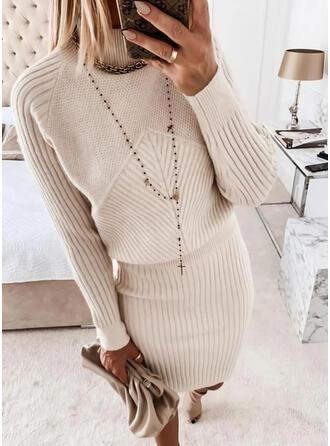 Einfarbig Stehkragen Freizeit Lang Pulloverkleid