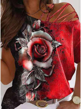 Floral Print One Shoulder Short Sleeves T-shirts