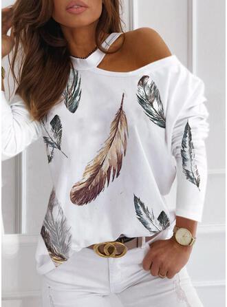 Print One Shoulder Long Sleeves Casual Blouses