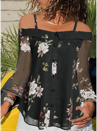 Print Floral Cold Shoulder Long Sleeves Button Up Casual Blouses